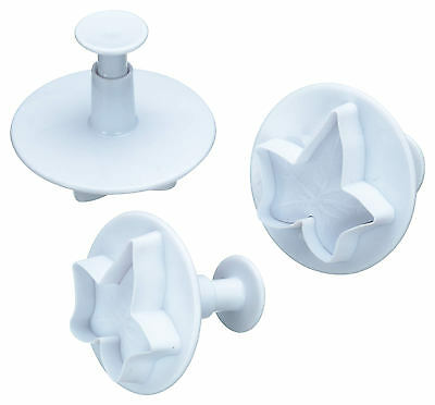 Kitchen Craft Set of 3 Ivy Leaf Fondant Icing Plunger / Biscuit Cutter Stamps