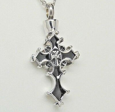 SILVER & BLACK CROSS URN NECKLACE CROSS CREMATION JEWELRY MEMORIAL ASH HOLDER