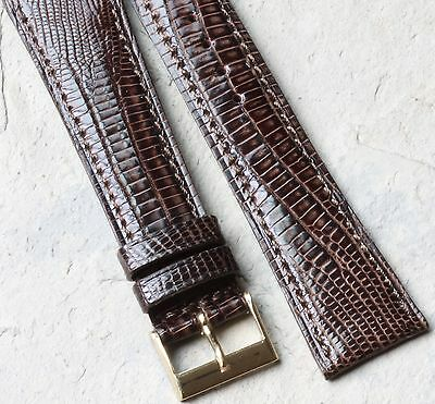 Tourneau Genuine Teju Lizard 20mm vintage watch band stitched with light padding