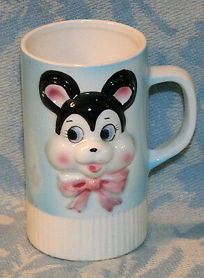 Adorable VINTAGE OLD Children's Child's Ceramic Mug Cup With Bear On It