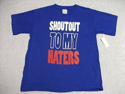 NEW Boys Top T Shirt XL X Large 16 - 18 Kids Blue Shoutout to my Haters