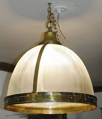HUGE Antique Holophane Brass Dome Chandelier Lamp. Ann Morris French Industrial