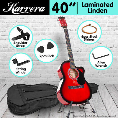New 40in Karrera Acoustic Cutaway Guitar Bag Strings Picks Winder Strap Red