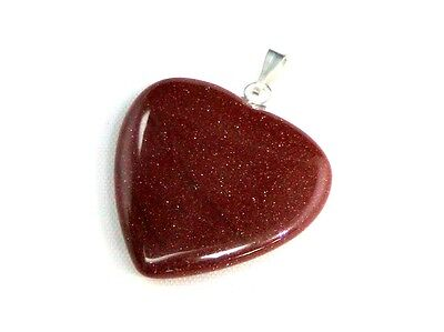 1 x 27mm Semi Precious Gemstone Heart Golden Sand Pendant Necklace Gift  R119