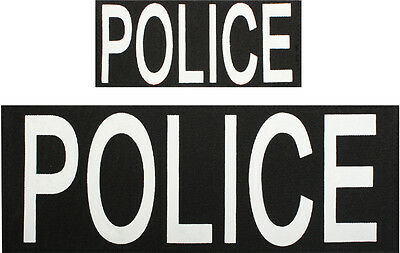 POLICE Patches Hook Back - 1 Large & 1 Small Patch for Vests or Jackets