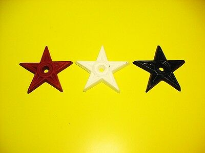 NEW CAST IRON WALL ORNAMENTS - SET OF THREE STARS -RED-WHITE-BLUE