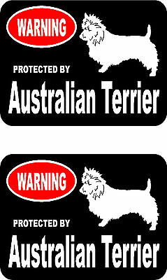 2 protected by Australian Terrier dog car bumper home window vinyl stickers