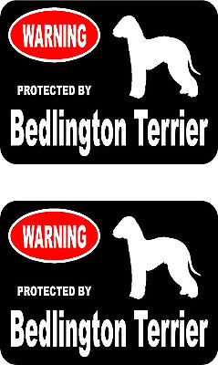 2 protected by Bedlington Terrier dog bumper home window vinyl decals stickers