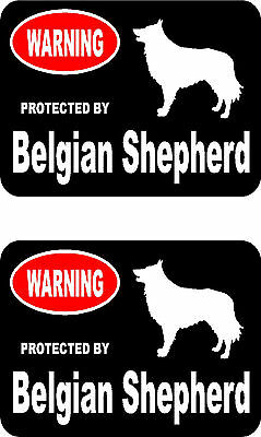 2 protected by Belgian Shepherd dog bumper home window vinyl decals stickers