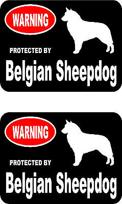 2 protected by Belgian Sheepdog dog bumper home window vinyl decals stickers