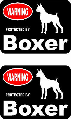 2 protected by Boxer dog car bumper home window vinyl decals stickers
