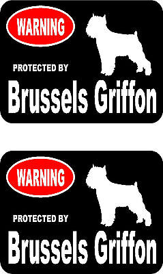 2 protected by Brussels Griffon dog car bumper home window vinyl decals stickers
