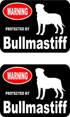 2 protected by Bullmastiff dog car bumper home window vinyl decals stickers