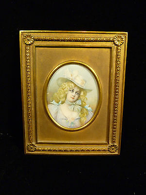 19Th Century French Hand Painted Portrait  Blond Bonneted Beauty In Period Frame
