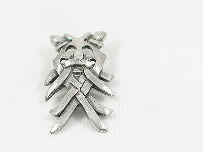 Pewter Silvery Viking Odins Mask Pin Badge in Organza Pouch