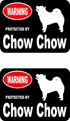 2 protected by Chow Chow dog home car bumper window vinyl decals stickers