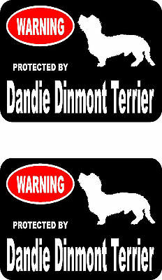 2 protected by Dandie Dinmont Terrier dog home car window vinyl decals stickers