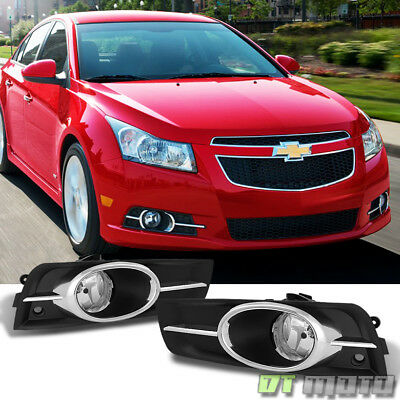 Chrome Trim 2010-2014 Chevy Cruze Bumper Fog Lights+Switch+Relay+Bulb Left+Right