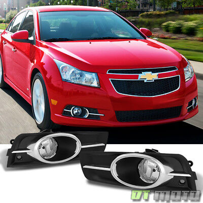 Chrome Trim 2011-2014 Chevy Cruze Bumper Fog Lights +Switch+Bulbs Left+Right