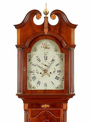 1810 New Jersey High Style Federal Mahogany Inlaid Tall Case Grandfather Clock