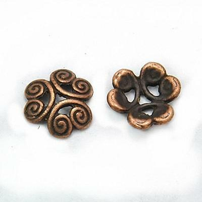 12pc 12mm antique copper finish metal bead cap-8354