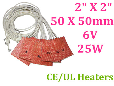 50mm X 50mm 25W 6V with 3M 4PCs Silicon Flexible Pad Rubber Heater Free Shipping