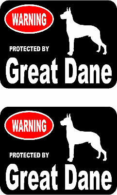2 protected by Great Dane dog car bumper home window vinyl decals stickers