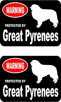 2 protected by Great Pyrenees dog car home window vinyl decals stickers