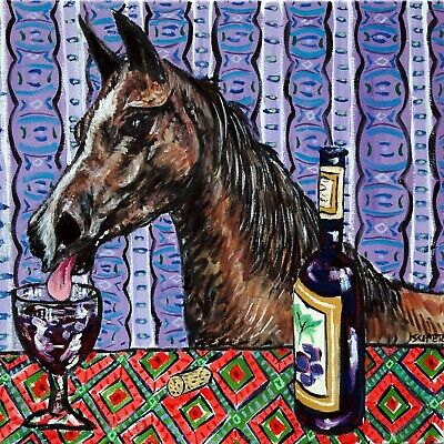 arabian HORSE at the wine bar art tile coaster gift artwork