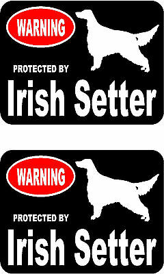 2 protected by Irish Setter dog car bumper home window vinyl decals stickers