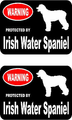 2 protected by Irish Water Spaniel dog bumper home window vinyl decals stickers