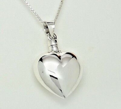 Heart Bottle Cremation Urn Necklace in 925 Sterling Silver