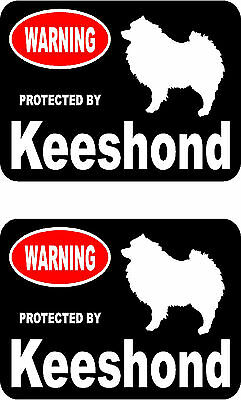 2 protected by Keeshond dog car bumper home window vinyl decals stickers