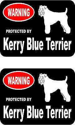 2 protected by Kerry Blue Terrier dog bumper home window vinyl decals stickers