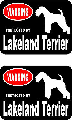 2 protected by Lakeland Terrier dog car bumper home window vinyl decals stickers