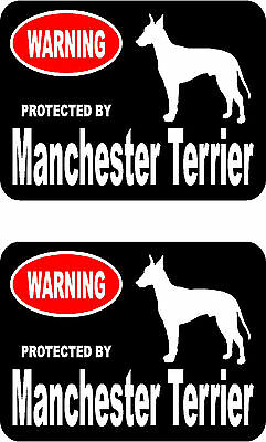 2 protected by Manchester Terrier dog bumper home window vinyl decals stickers