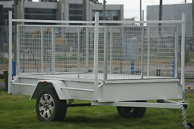 8x5 Box Trailer with 3ft Galvanised Cage & Ladder Racks