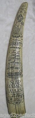 large faux tusk Scrimshaw Liberty flag shield hearts Nautical Ship intricate