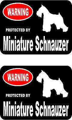 2 protected by Miniature Schnauzer dog bumper home window vinyl decals stickers
