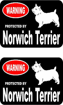 2 protected by Norwich Terrier dog car bumper home window vinyl decals stickers