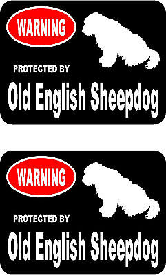 2 protected by Old English Sheepdog dog bumper home window vinyl decals stickers