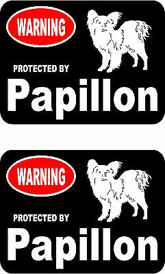 2 protected by Papillon dog car bumper home window vinyl decals stickers