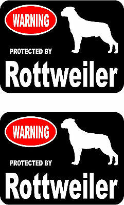 2 protected by Rottweiler dog car bumper home window vinyl decals stickers