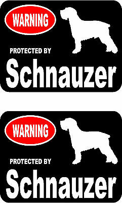 2 protected by Schnauzer dog car bumper home window vinyl decals stickers