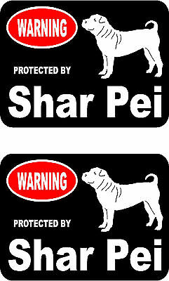 2 protected by Shar Pei dog car bumper home window vinyl decals stickers