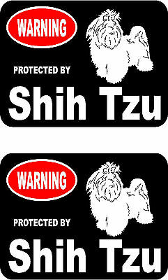 2 protected by Shih Tzu dog car bumper home window vinyl decals stickers