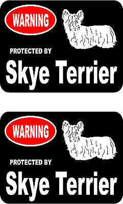 2 protected by Skye Terrier dog car bumper home window vinyl decals stickers