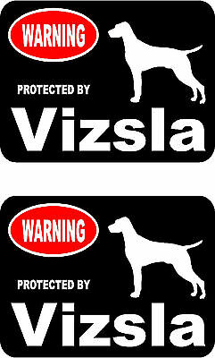 2 protected by Vizsla dog car bumper home window vinyl decals stickers