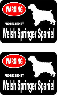 2 protected by Welsh Springer Spaniel dog car home window vinyl decals stickers