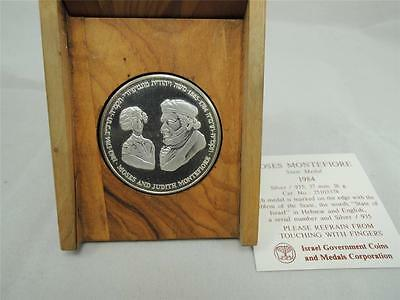 OLIVE WOOD BOX+COA ISRAEL 1981 FROM HOLOCAUST TO REBIRTH STATE MEDAL 26g SILVER